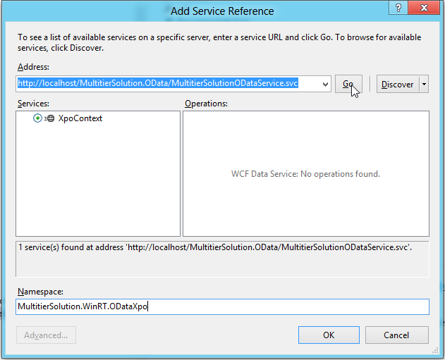 Add Service Reference for OData in Visual Studio
